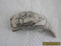 FAUX SCRIMSHAW WHALE TOOTH ~ ENGRAVED NAUTICAL SHIP SCENE