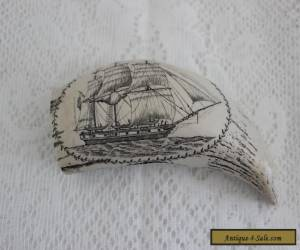 FAUX SCRIMSHAW WHALE TOOTH ~ ENGRAVED NAUTICAL SHIP SCENE for Sale
