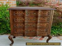 Antique French Carved Dark Oak Serpentine Chest End Table Nightstand Cabinet