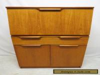 Vtg Mid Century Danish Modern Teak Drop Front Desk Secretary w/ Drawer & Cabinet
