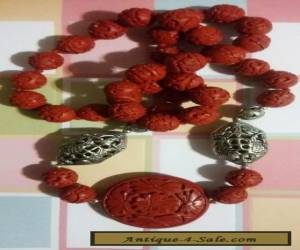 VINTAGE ~ CHINESE CINNABAR ~ SHOU LONGEVITY ~ LARGE  BEAD ~ NECKLACE for Sale