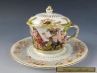 Antique Capodimonte LIDDED CHOCOLATE CUP & SAUCER Cherubs Satyr Porcelain German