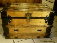 1800's Antique Victorian Flat Top Steamer Trunk with Lift Out Tray