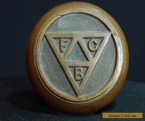 Cool Antique Brass / Bronze Door Knob with Knights of Pythias FCB Logo for Sale