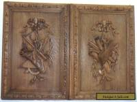 pair  antique FRENCH wood door panel  carved style  LOUIS XVI
