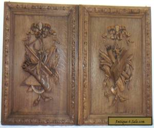 pair  antique FRENCH wood door panel  carved style  LOUIS XVI for Sale