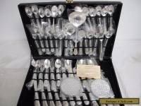 Vintage Wm Rogers & Son Silverplated Enchanted Rose Flatware Complete 53 pc Set