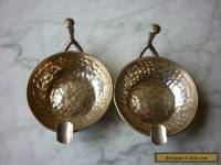 Vintage Pair Beaten Sterling Silver Cigar Ashtrays With Handle