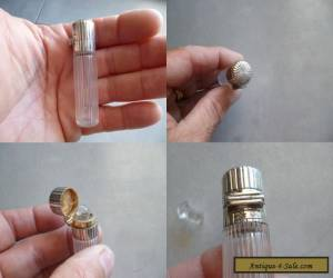 ANTIQUE Sterling Silver & Crystal Perfume Smelling Salt Bottle 19th  for Sale