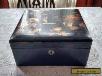 Lacquered Wooden Box Inlaid Japanese Style