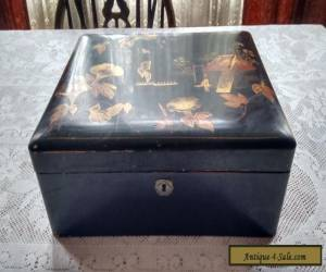 Lacquered Wooden Box Inlaid Japanese Style for Sale