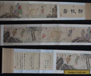 VERY RARE CHINESE HAND PAINTING FARM CATTLE SCROLL YANG JIN MARKED 520CM (L494) for Sale