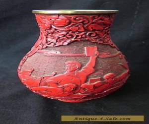 Vintage Chinese Cultural Revolution Cinnabar Lacquer Vase Military Soldiers Guns for Sale