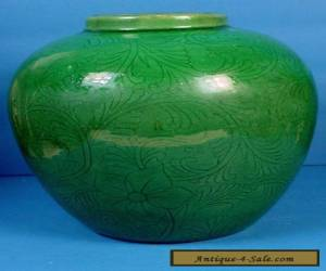 VINTAGE CHINESE INCISED APPLE GREEN MONOCHROME OVOID STONEWARE VASE for Sale