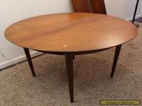 Mid Century Danish Modern Unusual Round Walnut Extension Dining Table