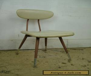 Vintage Mid Century Modern Molded Plywood & Metal Chair Steampunk Upholstered  for Sale