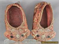 Exquisite Antique Chinese Hand Embroidered Children Cloth Shoes Circa 1880s