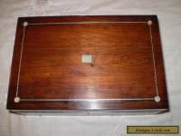 ANTIQUE ROSEWOOD BOX WITH INSET MOTHER OF PEARL