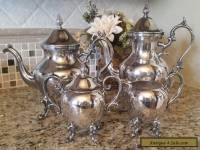 VINTAGE ROYAL CROWN CO SILVER ON COPPER 4 PC COFFEE SET