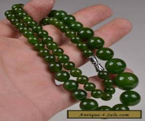 ORIENTAL VINTAGE GREEN JADE BEADS NECKLACE for Sale