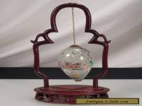 Vintage Chinese Glass Egg w/ Wood Stand