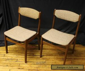 2 Vintage Mid Century Modern Danish Walnut Wood Wooden Dining Side Accent Chairs for Sale