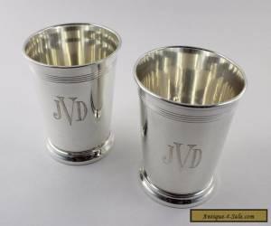 "Reed & Barton Sterling Silver H14 Mint Julep Cups - Set of 2 - Monogram ""JVD"" for Sale"