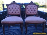Pair of Vintage Victorian Style Chairs Pink Upholstered