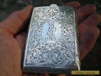 ANTIQUE VICTORIAN ORNATE STERLING SILVER CARD CASE + COMPACT