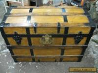 Refinished Flat Top Steamer Trunk Antique Chest