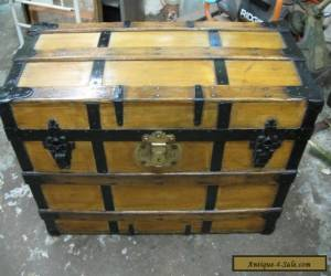 Refinished Flat Top Steamer Trunk Antique Chest  for Sale