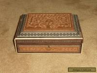 ANTIQUE ANGLO INDIAN SANDALWOOD & SADELI MOSAIC HAND CARVED LARGE BOX MID 19th C