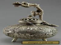 Chinese Old Handwork Tibet Silver Carved Dragon Incense Burner