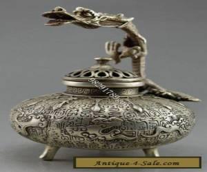 Chinese Old Handwork Tibet Silver Carved Dragon Incense Burner for Sale