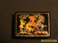 Vintage Antique Hand Painted Signed Russian Lacquer Box