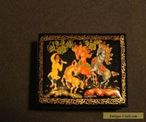Vintage Antique Hand Painted Signed Russian Lacquer Box  for Sale