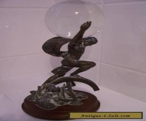 BRONZE STATUE OF ATLAS ON WOODEN BASE. for Sale