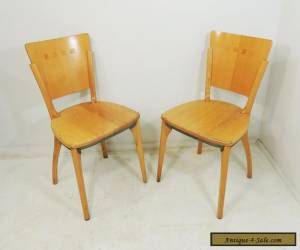 Set of 2 Vintage Mid Century Heavy Duty Solid Wood Waymar Chairs for Sale