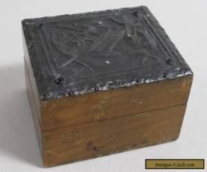 ANTIQUE CELTIC METAL PEWTER? TOP WOODEN TRINKET BOX for Sale