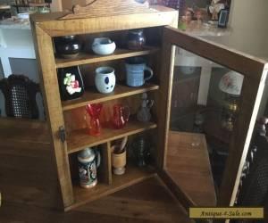 ANTIQUE HANDCRAFTED SOLID OAK WALL DISPLAY/MEDICINE CABINET GLASS DOOR for Sale