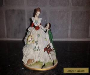DRESDEN LACE PORCELAIN LADY & GENTLEMAN for Sale