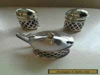 VINTAGE SILVER PLATED SALTS WITH CONDIMENT AND BLUE GLASS LINERS