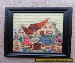 Vintage Antique 1930s? framed embroidery needlepoint picture canvas work ? for Sale