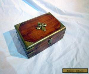 A VINTAHGE LOCKABLE WOODEN AND BRASS BOX WITH FLEUR de LIS DECOR for Sale