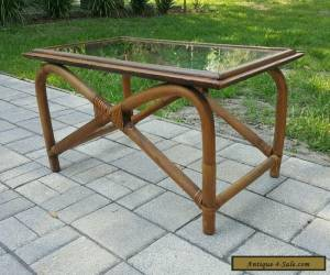VINTAGE MID CENTURY Modern TIKI Bamboo and Glass Coffee Table  for Sale