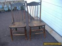 Early Oak Press Back Chair Vintage Antique Turn of Century 2 Available