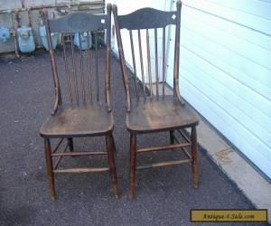 Early Oak Press Back Chair Vintage Antique Turn of Century 2 Available for Sale