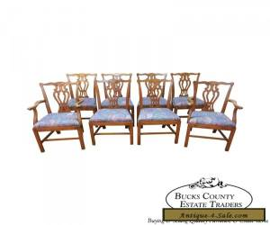 Baker Solid Oak Set of 8 Chippendale Style Dining Chairs for Sale