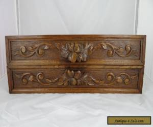 Antique French A Pair Of Hand Carved Architectural Panel Solid Oak Wood Trim for Sale