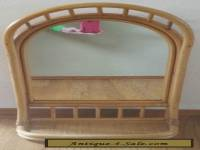 Vintage Boho Mid Century Modern Rattan Bamboo Mirror With Shelf